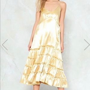 Nasty Gal gold satin t length dress size 4